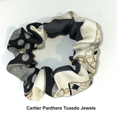 Scrunchie from vintage Cartier Tuxedo Jewels Panthere silk scarf
