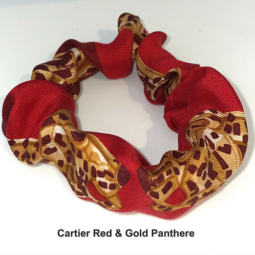 Scrunchie from vintage Cartier Red & Gold Panthere silk scarf