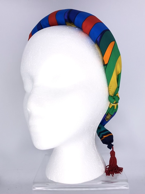 Puffy Headband of Hermes Sangles Silk scarf and tassels