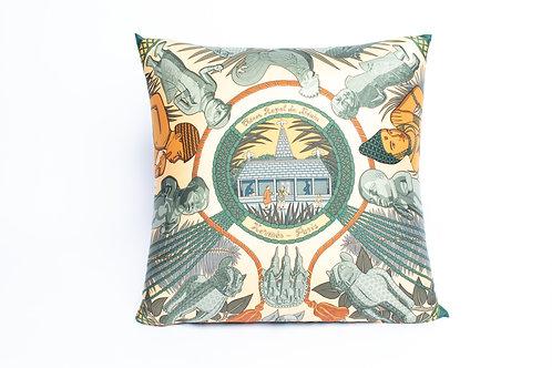 Square Pillow Hermes Vintage Tresor Royal du Benin Green Scarf