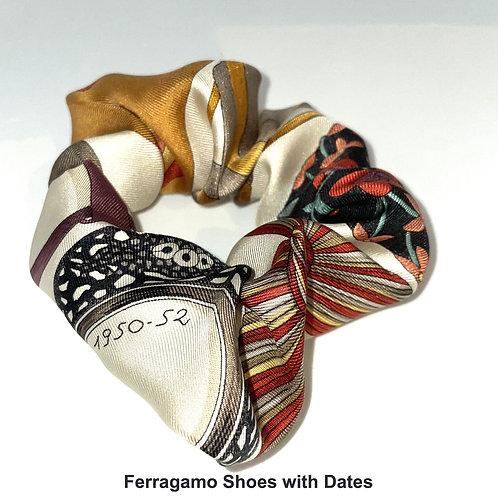 Scrunchie from vintage Ferragamo Shoes silk scarf
