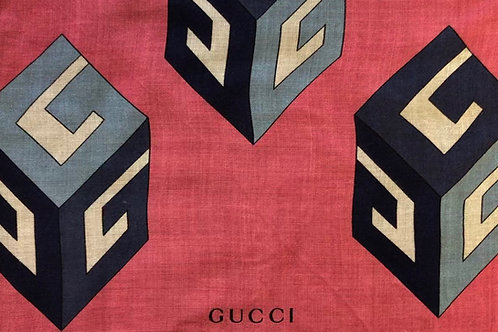 Pleated Style Face Mask Gucci Block Print Scarf (Pink / Navy))