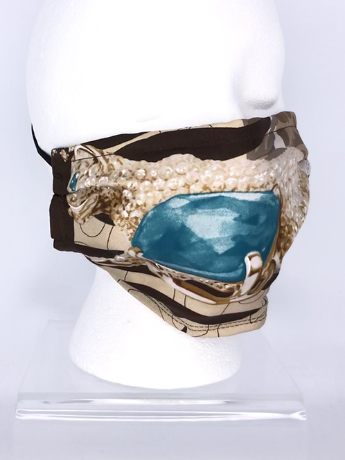 Pleated Style Face Mask Cartier Panthere Brown & Turquoise Silk