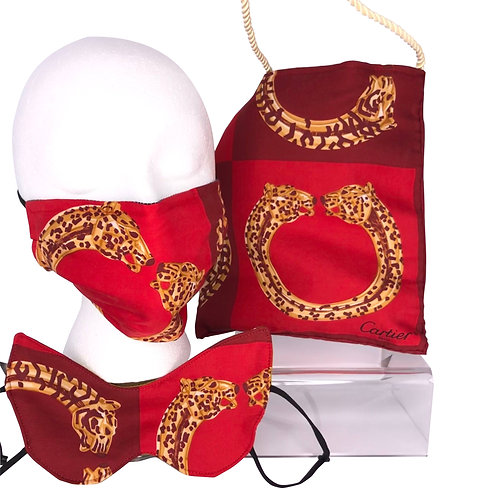 Eye Mask Cartier Panther Silk  (Red)