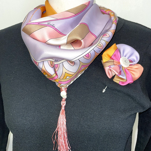 Triangle Losange/Headwrap and flower pin from Vintage Pucci silk