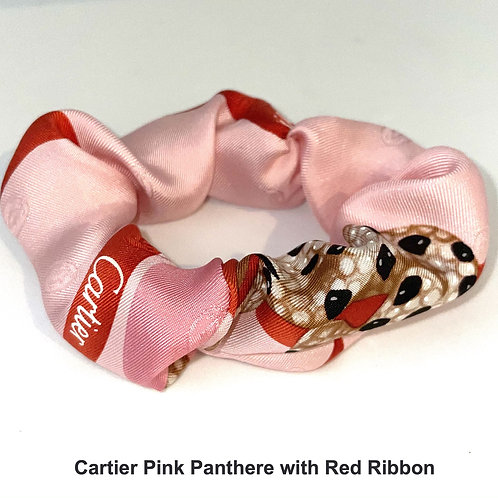 Scrunchie from vintage Cartier Pink Panthere Red Ribbon silk