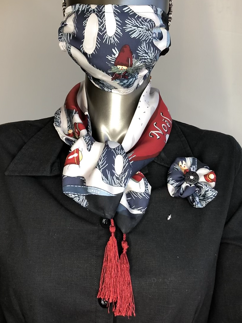 Sash, pleated mask & flower pin from Vintage Hermes Noel au 24 Faubourg Scarf