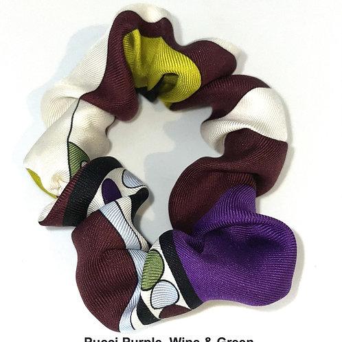 Scrunchie from vintage Pucci silk in Purple, Wine & Green