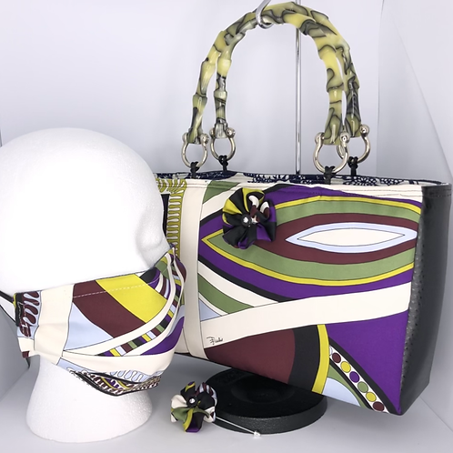 Handbag, pleated mask & flower pin from Vintage Pucci Scarf