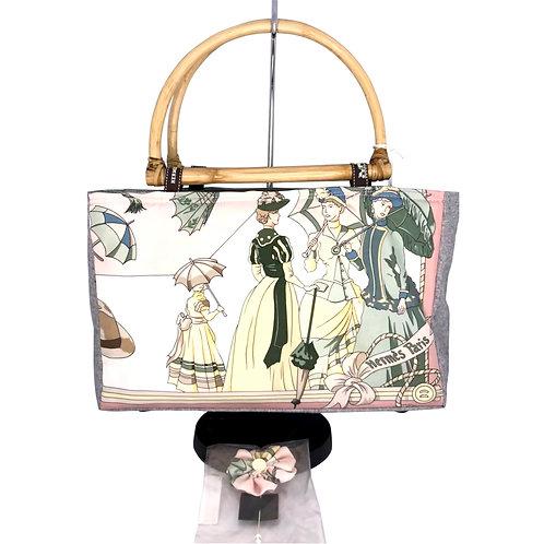 Handbag with Vintage Hermes Ombrellas et Parapluies Scarf (Pink Umbrellas)