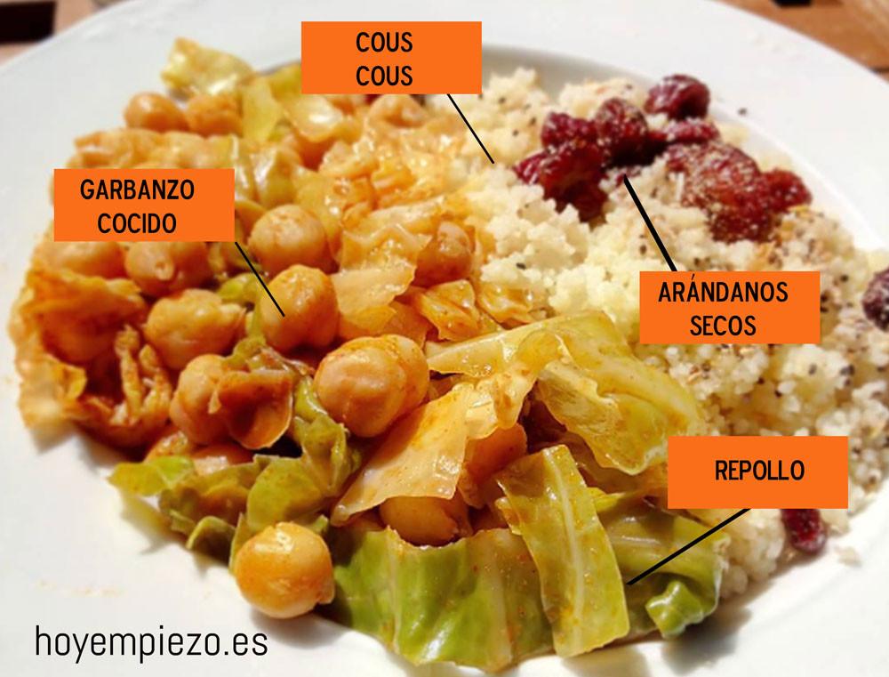 receta garbanzos repollo y cous cous
