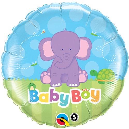 """Redondo Estampa Baby boy elefante 18"""" UNIDADE (Qualatex)"""
