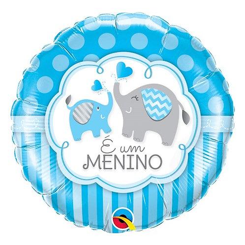 """Redondo Estampa É um menino elefantes 18"""" UNIDADE (Qualatex)"""