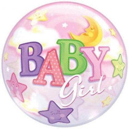 """Bubble Simples Baby Girl Lua e Estrelas 22"""" UNIDADE ("""