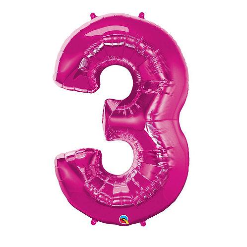 """Número 3 Pink 26"""" 66cm altura UNIDADE"""