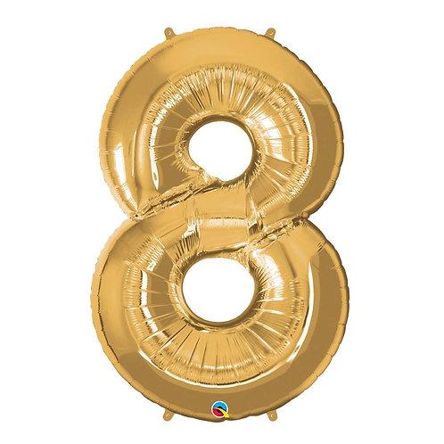 """Número 8 Ouro 26"""" 66cm altura UNIDADE"""