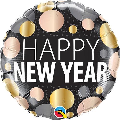 """Redondo Estampa Happy new year  pontos 18"""" UNIDADE (Qualatex)"""