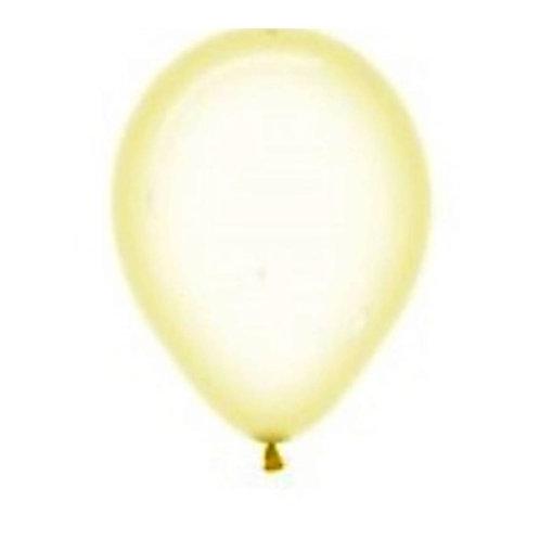 """Balão Latex Transparente Amarelo Baby 12"""" UNIDADE (Sempertex)"""