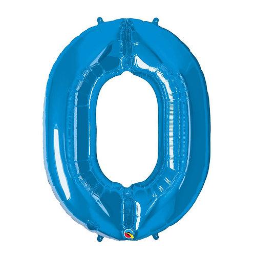 """Número 0 Azul 26"""" 66cm altura UNIDADE"""