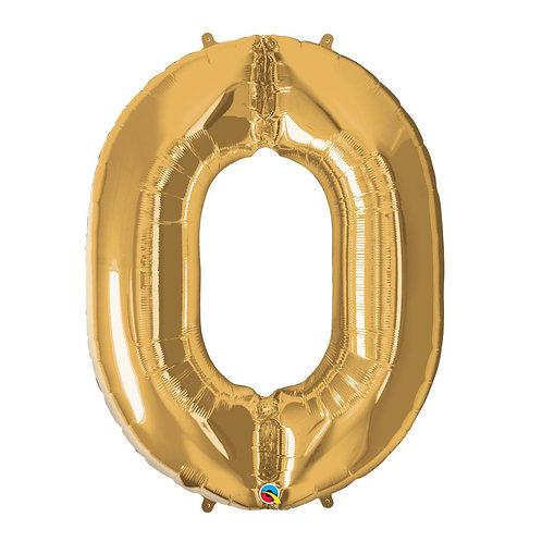 """Número 0 Ouro 26"""" 66cm altura UNIDADE"""
