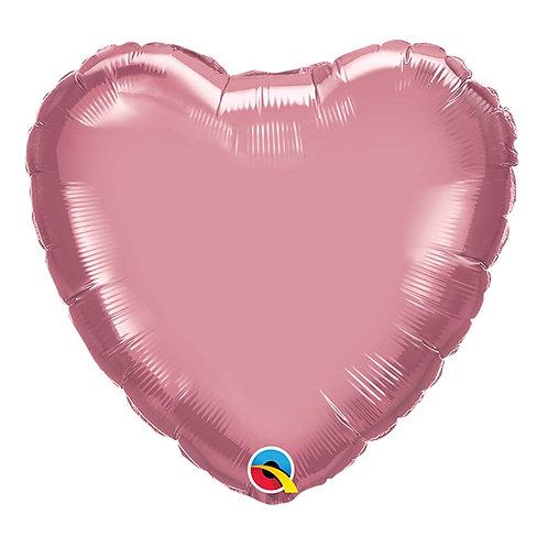 """Coração Chrome Malva 18"""" UNIDADE (Qualatex)"""