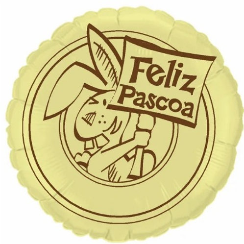 """Redondo Estampa Feliz páscoa amarelo baby 20"""" UNIDADE (Megatoon)"""