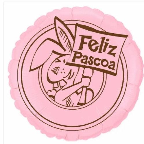 "Redondo Estampa Feliz páscoa rosa baby 20"" UNIDADE (Megatoon)"