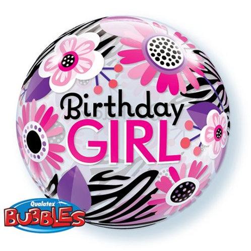 "Bubble Simples Birthday Floral Zebra 22"" UNIDADE ("
