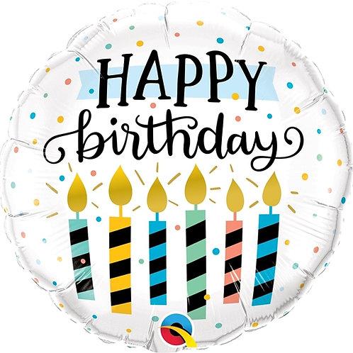 "Redondo Estampa Happy birthday velas 18"" UNIDADE (Qualatex)"