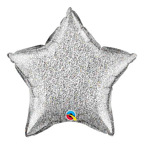 """Estrela Holográfica Prata 18"""" UNIDADE (Qualatex)"""