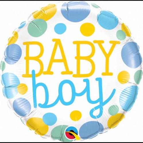 "Redondo Estampa Baby boy pontos 18"" UNIDADE (Qualatex)"