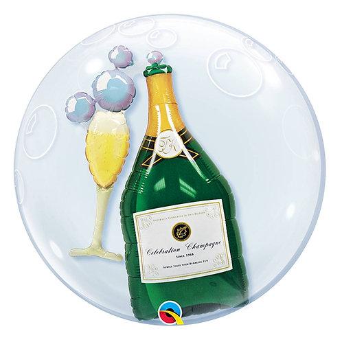 """Bubble Duplo Espumante com Taça 24"""" UNIDADE (Qualatex)"""