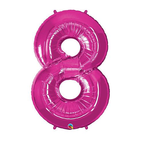 """Número 8 Pink 26"""" 66cm altura UNIDADE"""