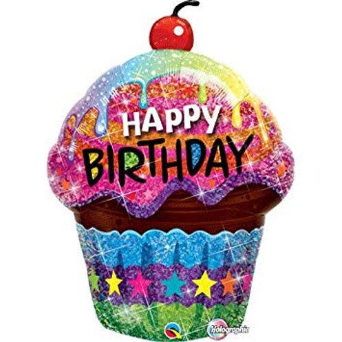 "Cupcake Happy birthday 35"" UNIDADE (Qualatex)"