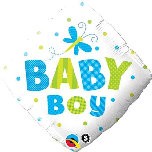 """Diamante Estampa Baby boy libélulas 18"""" UNIDADE (Qualatex)"""