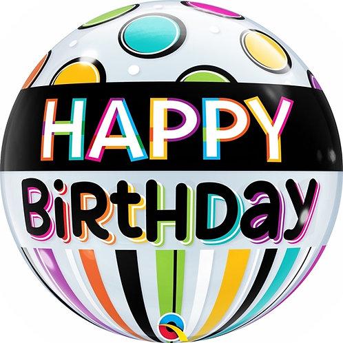 "Bubble Simples Birthday Banda Preta e Pontos 22"" UNIDADE (Qualatex)"