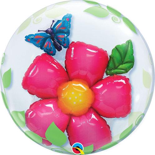 "Bubble Duplo Flor e Folhas 24"" UNIDADE (Qualatex)"