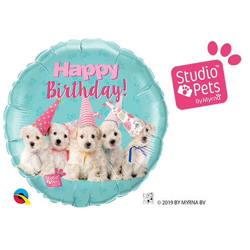 "Redondo Estampa Happy birthday cachorrinhos studio pets 18"" UNIDADE (Qualatex)"