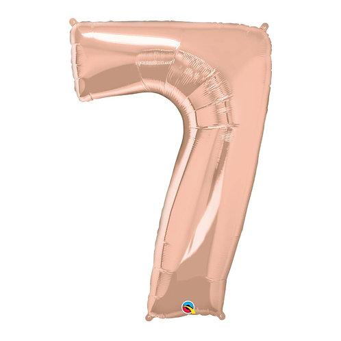 """Número 7 Rose gold 26"""" 66cm altura UNIDADE"""