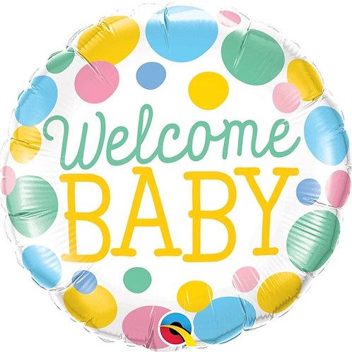 """Redondo Estampa Welcome baby pontos 18"""" UNIDADE (Qualatex)"""