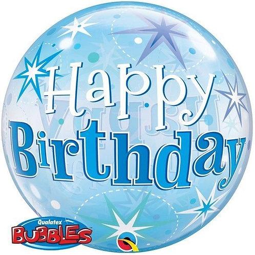 "Bubble Simples Azul Birthday Explosão de Estrelas 22"" UNIDADE (Qualatex)"