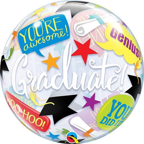 """Bubble Simples Congratulations Graduate 22"""" UNIDADE (Qualatex)"""