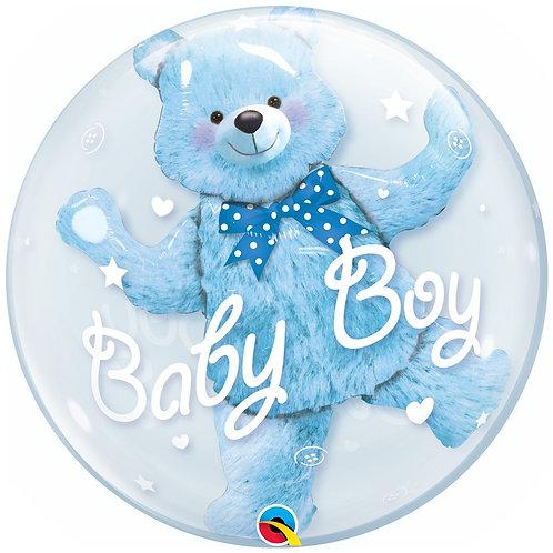 """Bubble Duplo Ursinho Azul 24"""" UNIDADE (Qualatex)"""
