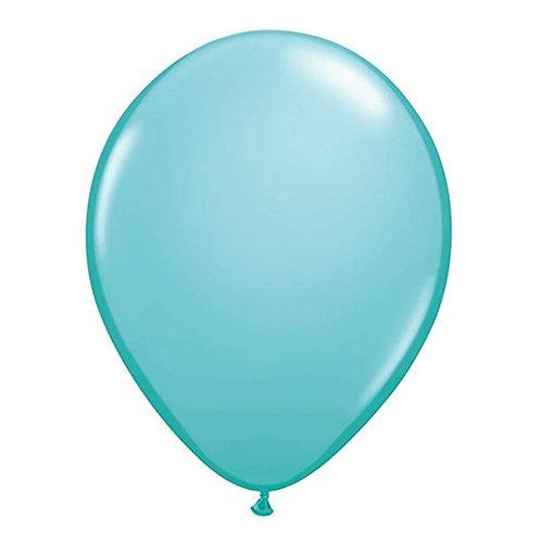 """Balão Latex Liso Azul Caribe 11"""" UNIDADE (Qualatex)"""