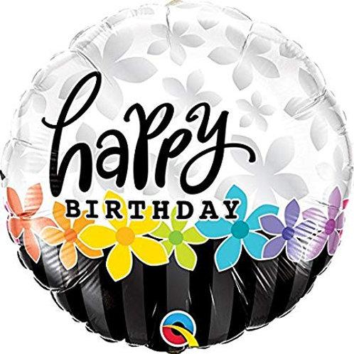 "Redondo Estampa Happy birthday faixas e flores 18"" UNIDADE (Qualatex)"