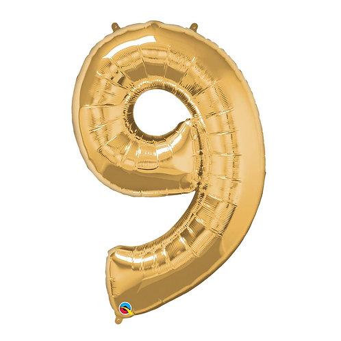 """Número 9 Ouro 26"""" 66cm altura UNIDADE"""