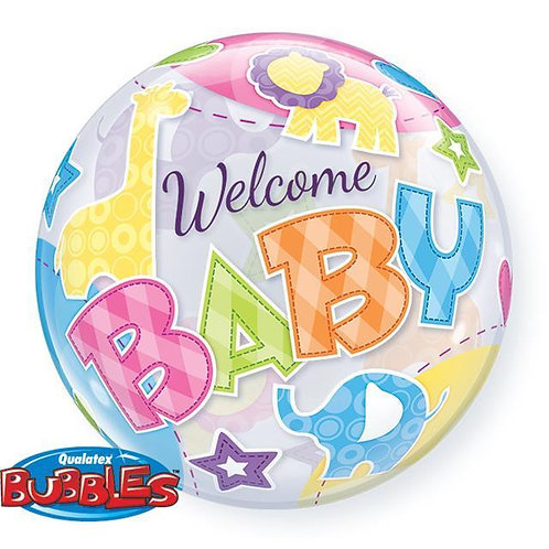 "Bubble Simples Welcome Baby Animais 22"" UNIDADE (Qualatex)"
