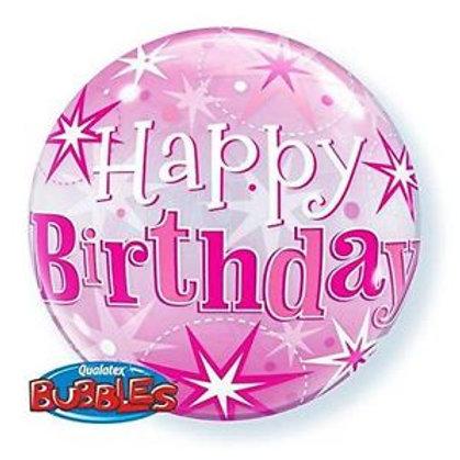 """Bubble Simples Rosa Birthday Explosão de Estrelas 22"""" UNIDADE ("""