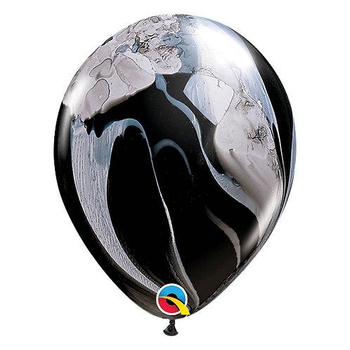 """Balão Latex Ágate Preto e Branco 11"""" UNIDADE (Qualatex)"""