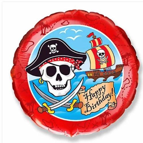 "Redondo Estampa Happy birthday piratas 20"" UNIDADE (Megatoon)"